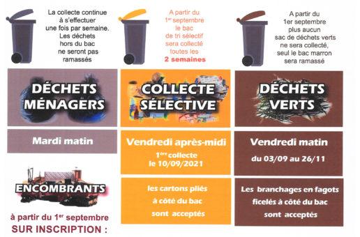 Planning et modalités de collecte des déchets